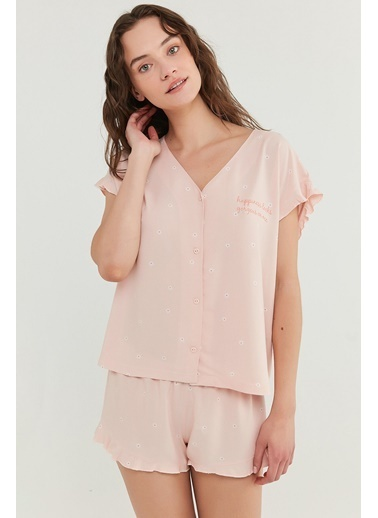 Penti Somon Gorgeous Gömlek Şort Takımı Oranj